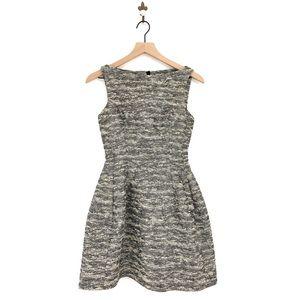 Zara Metallic Tweed Tulip Structured Dress Pockets